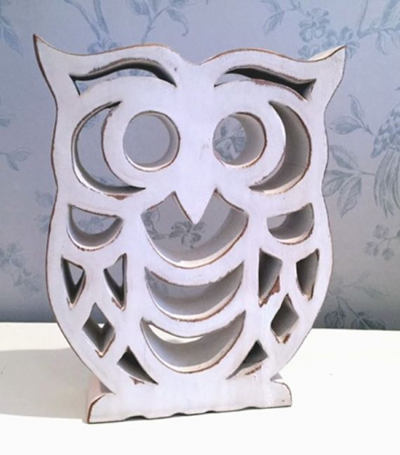 Distressed Large Wooden Owl Home Decoration